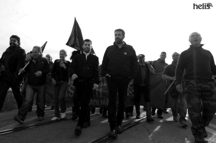 Simone Maulu e Giovanni Masia alla manifestazione del Movimento Pastori Sardi di Porto Torres nel 2010